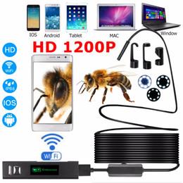 Freeshipping Endoscopio HD 1200P regolabile 8 LED Wifi Endoscopio fotocamera 8.0mm con cavo duro IP68 1 M 2 M 3,5 M 5 M 10 M Per Android Per ios da maschera per freddo fornitori