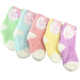 Wholesale fleece baby socks - Baby Socks 10pairs =1 Lot Winter To Keep Warm Coral Fleece Fashion Sweet Candy Colors For 0 -2 Year Baby Boy Socks