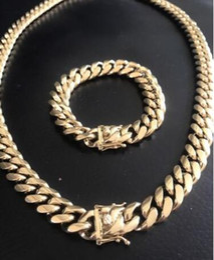 Wholesale cuban bracelet silver - 14mm Men Cuban Miami Link Bracelet & Chain Set 14k Gold Plated Stainless Steel