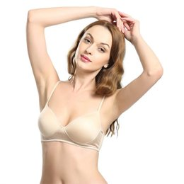 29811139ce Pure Silk Women s Bras Wire Free 3 4 Cup Solid Female Thin Padded Breasts  Close Sport Underwear High Quality