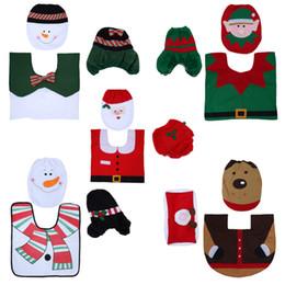 Baños a medida online-Custom 3Pcs Alfombra de Navidad Cubierta de asiento de inodoro de Santa Almohadilla del pie Tapa del radiador Alfombrilla de baño antideslizante Juego de baño Decoración navideña