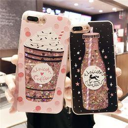Wholesale Drink Cases - Charm Drink Bottle Dynamic Glitter Quicksand Phone Case Shockproof Cellphone Cases for IPhone X 8 8plus 6 6s 6plus 6splus 7 7plus