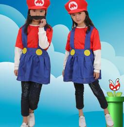 habiller les chapeaux Promotion Enfants Super Mario Brothers robe Cosplay Costume drôle Fantaisie Dress Up Costumes de fête chapeau robe moustache Pour Enfant cadeau KKA5789