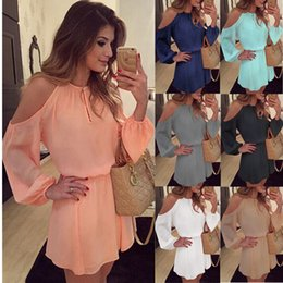 Wholesale Lantern Shoulder - Fashion sexy women's summer Chiffon Dress Sexy Long Sleeve Asymmetrical Backless Dress Casual Mini Dress Free Shipping CL376