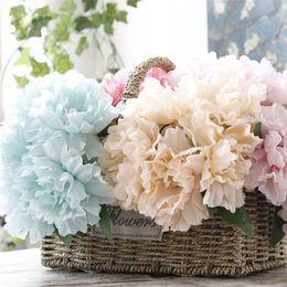 Buquês de flores de seda em massa on-line-A Granel Lotes 28 * 11 cm Peônia Flores De Seda 5 Cabeças De Noiva Falso Bouquets Artificial Plantas Centrais Do Casamento Decoração Do Partido Decoração Do Jardim