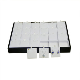 Wholesale fine leather accessories - Fine Wooden Jewelry Display Case White PU and Black Velvet 24 Insert Necklace Earrings Stud accessories Storage Organizer Tray