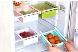 wholesale bread boxes Coupons - Refrigerator Storage Rack Pull Out Type Fresh Baffle Plastic Fridge Freezer Shelf Holder Food Sorting Box Drawer Easy To Clean wn557