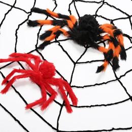 Decorazione di halloween Plush Spider 30 CM 50 CM dimensione ragno Rete colorata Peluche di halloween Puntelli spider Giocattolo Divertente per la festa Bar KTV HQ030 da