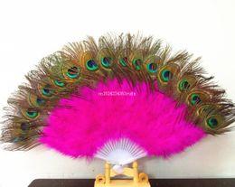 abanico de baile de plumas de pavo real Rebajas 12 unids Peacock Feather Hand Fans Dancing Hand Fan Nupcial Party Supply Decor Mujer Accesorios Marabou Plumas Regalo de boda Favor
