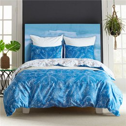 Bella biancheria da letto blu online-Modern Blue Print Beautiful Bedding Set 2 / 3pcs Lenzuola Copripiumini Copripiumino Copripiumino USA Queen King Twin Size Biancheria da letto