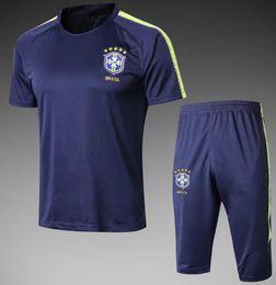 Wholesale Mens Xl Suits - Survetement football 2018 brazil short sleeves training kits Maillot de foot mens tracksuits tight pants sport suit soccer Uniforms kit