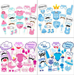 Wholesale christmas photo props - 25x Baby Shower Photo Booth Props Little Boy Girl Newborn Birthday Party Decoration 4 styles BBA84