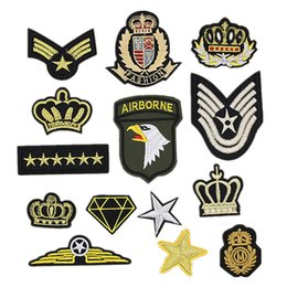 Wholesale Crown Patches - 14 Embroidery Patches Army Shoulder Straps Sergeant Stripes Armbands Crown Sew Iron On Badges For Bag Jeans Hat T Shirt DIY Appliques Craft