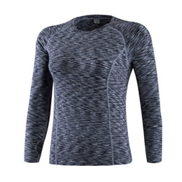 Wholesale Wholesale Stretch Long T Shirts - Autumn Women Fitness Running Sports Stretch T shirt Long Sleeve Quick Dry Tees Jogging Yoga Exercises Athletic Compression Tops