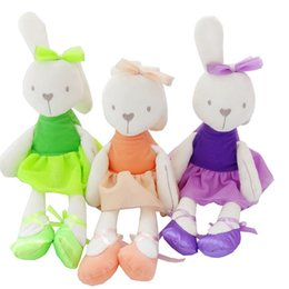 Wholesale pink stuffed bunny - 2016 New 35cm Soft Baby Toy Pink Bunny Mobile Soothe Doll Stuffed Rabbit Toys for Newborns Child Toy Doll Rabbit