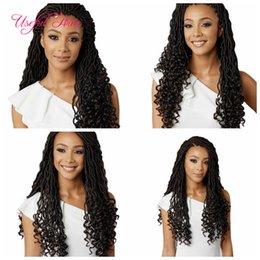 Wholesale Wholesale Kanekalon Hair Extensions - Crochet Goddess Locs Hair Extensions Faux Locs Curly 18inch half wave hald curl Crochet Braids Ombre Kanekalon Braiding Hair Bohemian locks