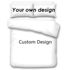 2019 costume da rainha Design personalizado Conjuntos de Cama 3D Impressão Digital Personalizado Conjunto de Cama 3 pcs Capa de Edredão com Fronha Completa Rainha do Rei tamanho costume da rainha barato