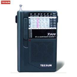 2019 receptor de rádio digital de banda mundial Mini TECSUN R-808 Rádio FM / MW / SW Rádio Multibanda World Band Receiver + Fone de Ouvido Y4141A R808 Receptor Digital Transporte da gota receptor de rádio digital de banda mundial barato