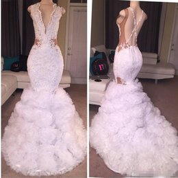 Wholesale White Shirts Puffy Sleeves - 2018 Newest Designer Lace Mermaid Prom Dresses Plunging V Neck Puffy Skirt Sexy Criss Cross Backless Long Train Party Evening Gowns