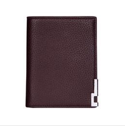 Wholesale Leopard Bow Tie For Men - Brand 2018 Men's Wallet Fine Bifold Brown genuine Leather Money Purse vest Wallet Men Women Wallet For General