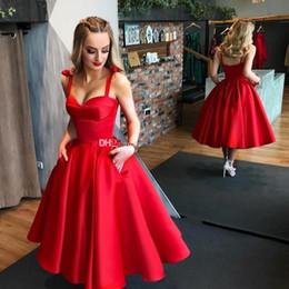 Vestito rosso da promenade midi online-Abiti da ballo rosso scuro Abiti da ballo Sweetheart Cinghia di raso Lunghezza tè Abiti da cocktail Abiti da sera sexy Backless Midi