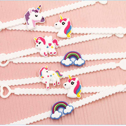 Wholesale Baby Party Bags - Children Charm Unique Unicorn Bracelets Girls Boys Birthday Party bag fillers Kids Baby Silicone Wristband Child Toy 320043