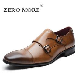 3224d076a048 ZERO MORE Mens Shoes Casual Formal Double Monk Strap Dress Square Toe  Design Split Leather Shoes Men 2018 Hot Sale