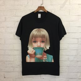Wholesale little girl collar shirts - 2018 new style fashion cotton Round collar short-sleeved T-shirt Cartoon little girl printing Men and women with money 4color M--XL