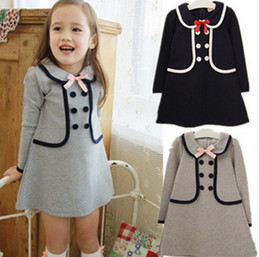 Wholesale Lolita Hoodie - Fashion baby girls kids spring and autumn long sleeve dress long sweater hoodies children clothing top quality