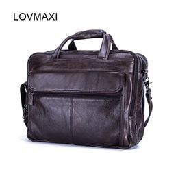 Wholesale Large Gray Handbag - LOVMAXI 100% Genuine Leather Men's Briefcases for Male Business Handbags Causal Laptop Bags Messenger Bags Large Travel Bag
