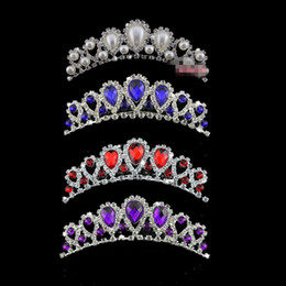 En stock Barato Hermoso elegante Mitation Perla Rhinestone incrustaciones Corona Tiara Boda Novia Peine del cabello Coronas para la noche de fiesta de graduación desde fabricantes