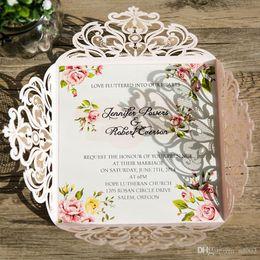 convites partido rosa Desconto Moda de casamento Cartão de Convite de Impressão Flor Rosa Rendas Festa de Aniversário Suprimentos de Papel Cartões Requintado Bardian Alto Grau 1 1fm ii