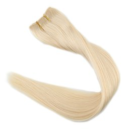 Wholesale fishing tapes - 12inch-26inch Flip in Remy Human Hair Extensions Fish Line No Clips No Tapes One Piece in Color #60 Platinum Blonde Extensions