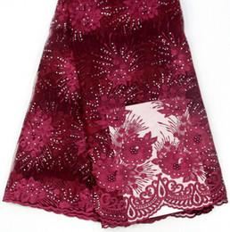 2019 африканская кружевная фиолетовая органза Оптовая кружевной ткани из бисера высокого качества цветок вышивка кружевной ткани красивые африканские кружевной ткани для одежды MC
