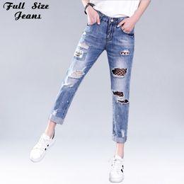 Wholesale Worn Out Jeans - Plus Size Hollow Out Women Ripped Jeans 4Xl 5Xl 6Xl Female Black Mesh Patchworked Jeans Street Wear Fishnet Capris Jean