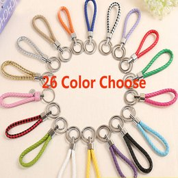 Wholesale mobile holidays - 26 Colors Mobile Phone Straps Key Chain Car Pendant Weave Key Ring Men And Women Key Chain Valentine Day Gifts HH7-1090