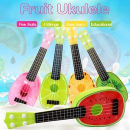 Wholesale Toys Guitars - Fruit Guitar Ukulele 4 Strings Baby Musical Learning Educational Plastic Instrument Toys instrumentos musicais for Children