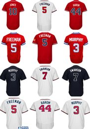 Wholesale Hank Aaron Baseball - 44 Hank Aaron 10 Chipper Jones 5 Freddie Freeman 3 Dale Murphy Jersey Men's High quality stitched Baseball Jerseys