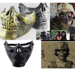 Wholesale Fun Games Men - New 2017 Fun Paintball Airsoft Masks Scary Skeleton Skull Mask Protective CS Games Carnival Halloween Christmas c113