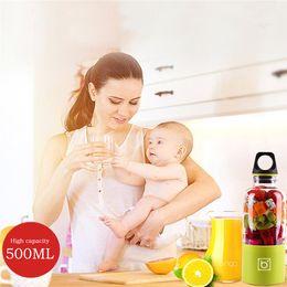 Wholesale vegetable juice blender - 500ML Juice Extractor Blender Mixer Portable Electric Juicer Cup USB Rechargeable Automatic Vegetables Fruit Juice Maker Cup