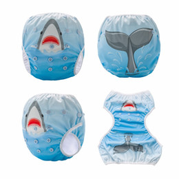 baby swim pants 2018 - Shark in the Sea! Baby Diaper Swim One Size Swimming Pants Washable Swim Nappy Cover 1PCS
