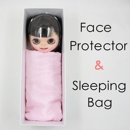 Wholesale plastic doll faces - free shipping forturn days for blyth doll icy face protector mask pink sleeping bag white box