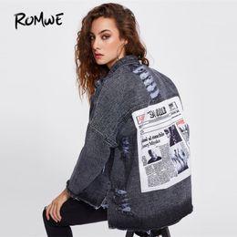 куртка с отворотом Скидка  Drop Shoulder Patch Back Distressed Jacket Grey Single Breasted Lapel Boyfriend Style Jacket Ladies Spring