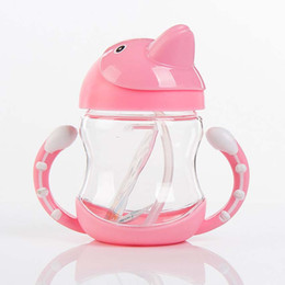 Wholesale Dolphin Cup - 380ml Baby Cartoon Dolphin Bottle Kid Straw Cup with Handles Child Bottle Sippy Cup Children Learn Drinking Water Straw Baby Cup