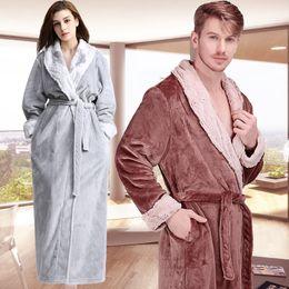 ce5fd888fb Discount winter flannel woman robe warm - Men Women Winter Extra Long  Luxury Fur Warm Bath