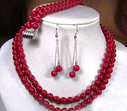 Wholesale emerald wedding earrings - 2 rows Natural Tibet red coral round beads necklace earrings bracelet set AAA