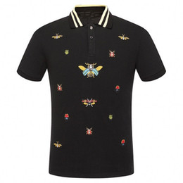 Wholesale garter black - 2018 Summer luxury Italy T-shirt Men's tee Polo embroidery whtie garter Snakes Little bee printing Men's fashion clothing Brand polo shirt