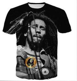 Wholesale bob animals - New Fashion Clothing Reggae Star Bob Marley Casual T-Shirt Women Men 3D T-shirt Harajuku T Shirt Summer Style Tops XTXS051