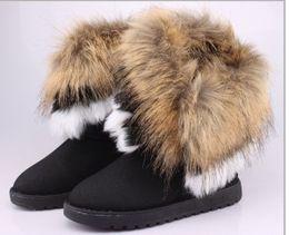 Wholesale Size 42 Wedges - SZSGCN84-Big Size 36-42! Fur Warm Autumn Winter Wedges Snow Women Boots Shoes GenuineI Mitation Lady Short Boots Casual Long Snow Shoes
