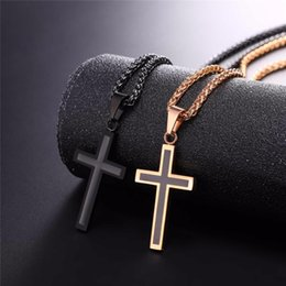 Wholesale Christian Metal - Cross Necklace & Pendant Christian Jewelry Wholesale 316L Stainless Steel Gold Color Chain Cross Necklace Men GP952